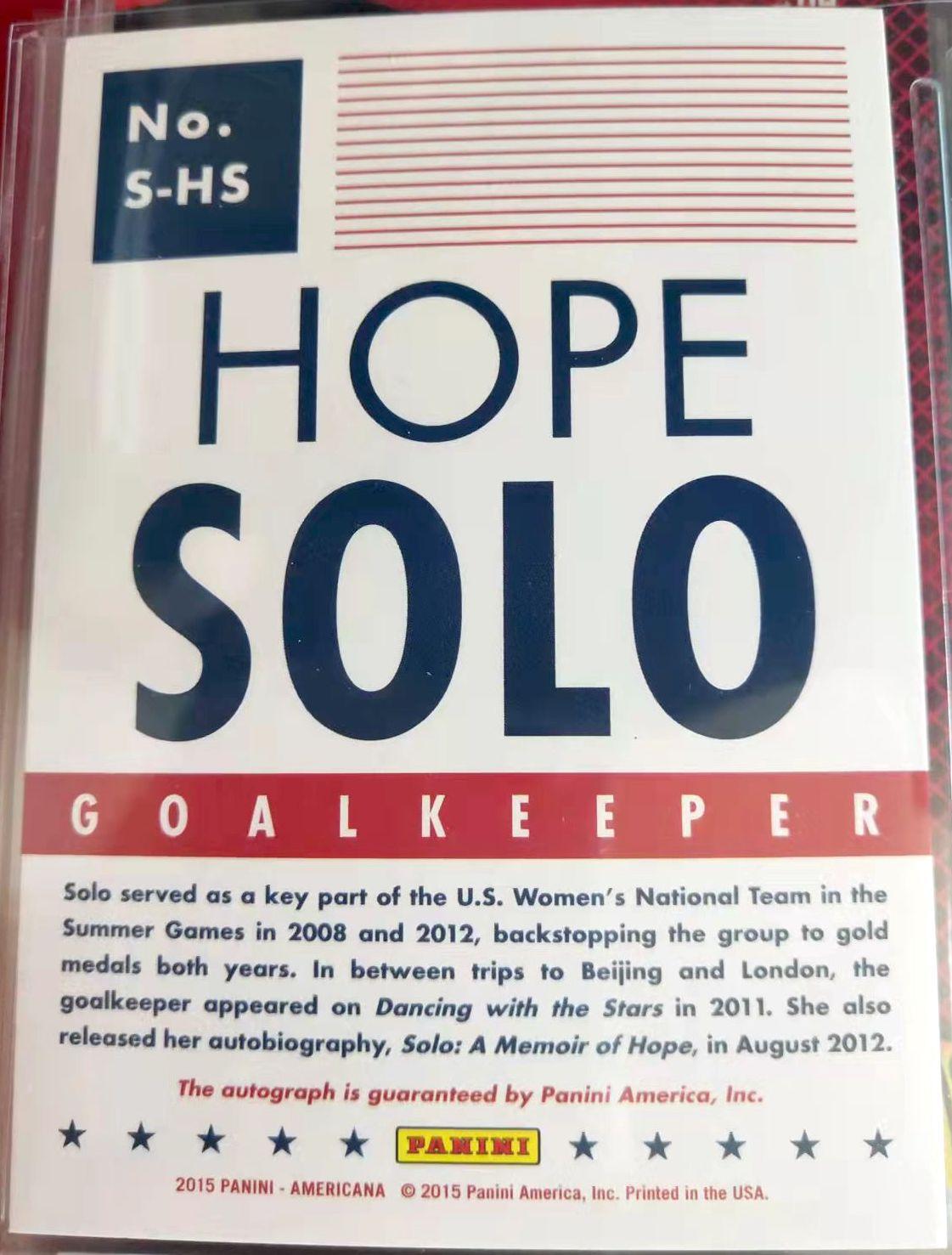 帕尼尼 PANINI Americana Hope Solo 霍普 索洛 签字 美国女足 世界杯 奥运会 冠军