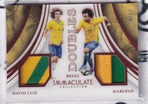 【高远球星卡拍卖】帕尼尼immculate 巴西 路易斯/马塞洛 Luiz/Marcelo 25编双人实物pa 切尔西 阿森纳 皇马