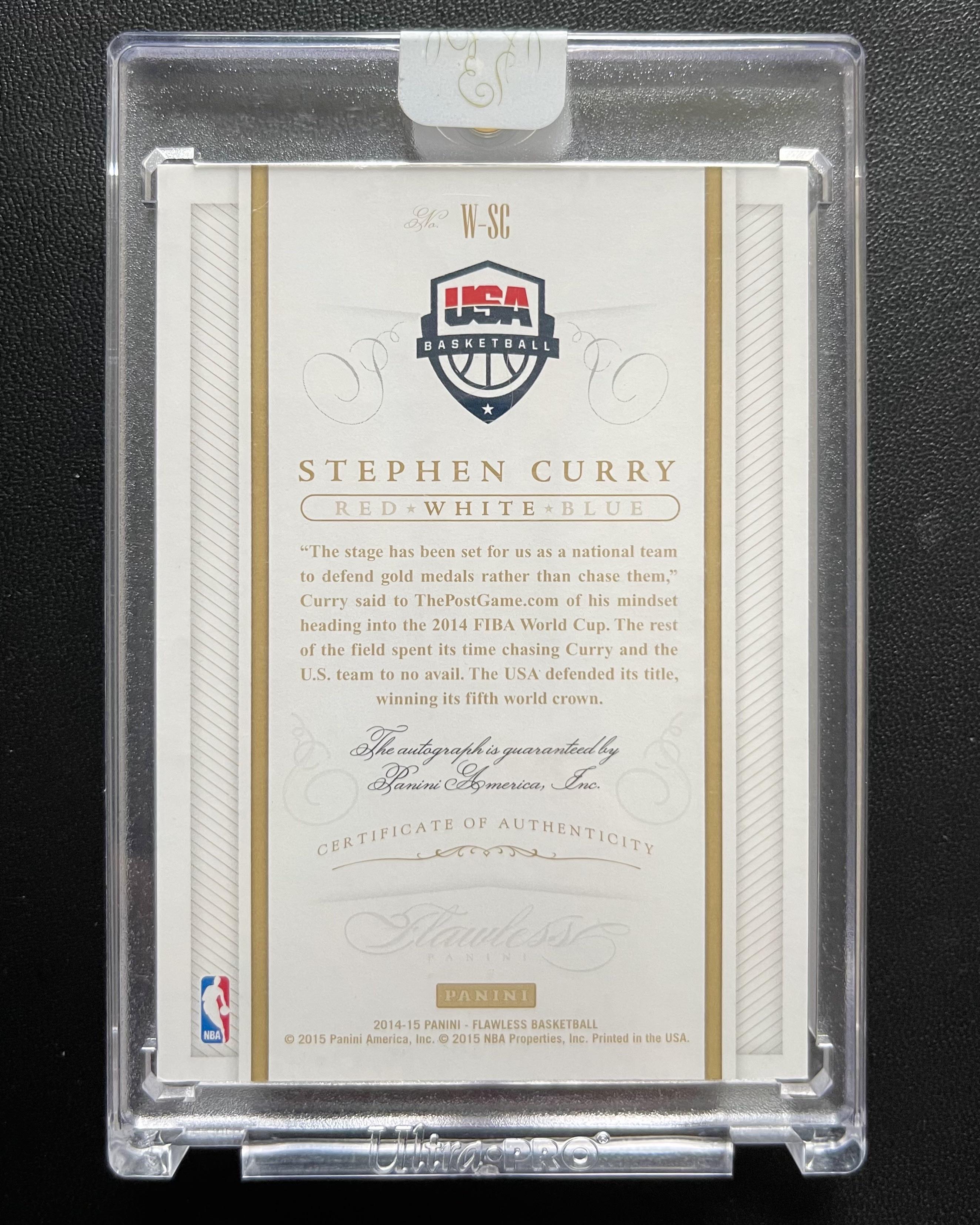 2014-15 最高端Flawless手提系列 勇士队 库里 Stephen Curry 著名的经典的美国队USA大头签字 /25 无平行 原封砖 收藏佳品!